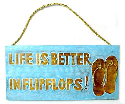 Hand Carved FLIP Flop Life is Better in FLIP Flops Sign Beach Surfboard Wooden Wall Hanging Art Tiki Bar