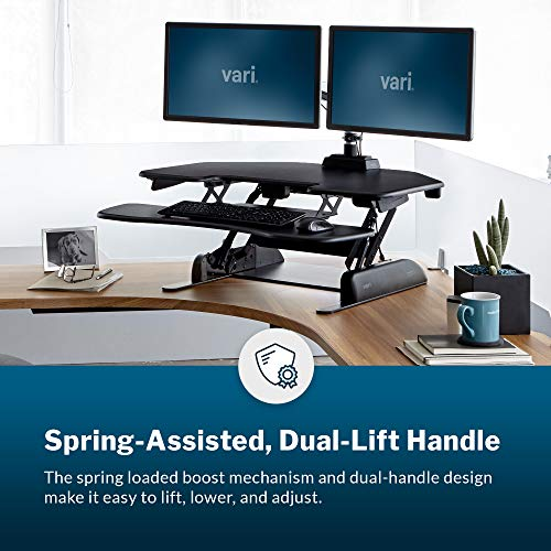 VariDesk Cube Corner 36 by Vari – Cubicle Standing Desk Converter for Dual Monitors – Height Adjustable Stand Up Desk – No Assembly Required