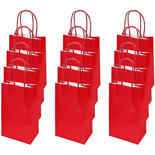 flintronic Papiertüten aus Kraftpapier, 12 Stück Papiertüten mit Henkel, Geschenkverpackung, Tüten Eschenktüten, Gastgeschenke Tüten, Mitgebseltüten, Geschenktüten Set - Rot (21 * 13 * 8CM)