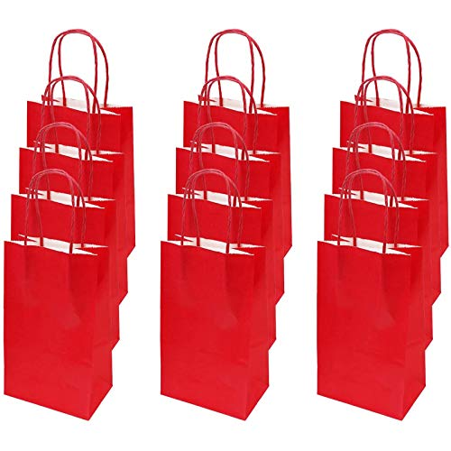 flintronic Bolsa de Regalo, 13 x 8 x 21 cm, 12 pcs Bolsa de Papel Kraft Bolsas de Papel, para Fiestas, Ceremonias de Graduación, Bodas, Aniversarios etc.