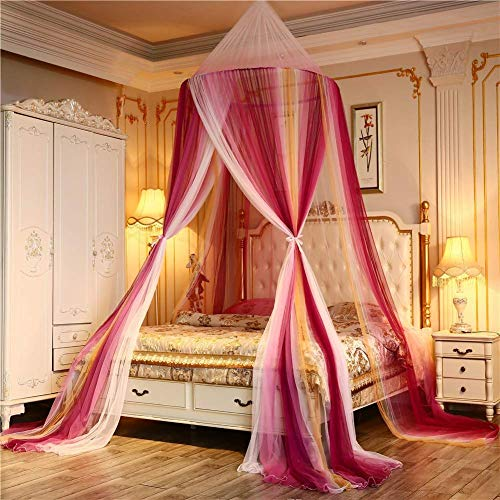 YVX Universal Bed Canopy Bed Canopy Dome Lace Princess Bed Play Tent Room Decoration for Baby Kids Single to King Size Beds,Red,A