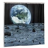 kThrones Duschvorhang,Blue Space Earth vom Mond aus gesehen von der NASA Outer View Landing eingerichtet,Wasserdicht Bad Vorhang mit Haken 180cmx180cm