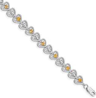 925 Sterling Silver Textured Polished Open back Lobster Claw Closure Citrine Diamond Bracelet