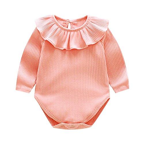 Bebé Mono, Shop Recién Nacido Bebé Mono Niña Ruffles sólidos Romper Manga Corta Bodies Ropa Casual Jumpsuit, 0-18 Meses (70 (0-3meses), Rosado)