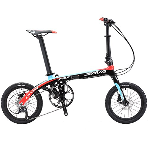 """SAVADECK 16"""" Bicicletta Pieghevole in Fibra di Carbonio per Bambini Bicicletta Pieghevole Mini in Città con Shimano Sora 3000 Set di 9 velocità (Nero Rosso)"""