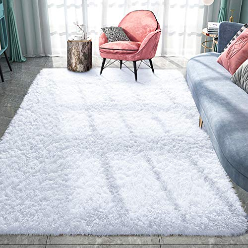 Pacapet Fluffy Area Rugs, White Shag Rug for Bedroom, Plush Furry Rugs for Living Room, Fuzzy Carpet for Kid's Room, Nursery, Home Decor, 4 x 5.9 Feet