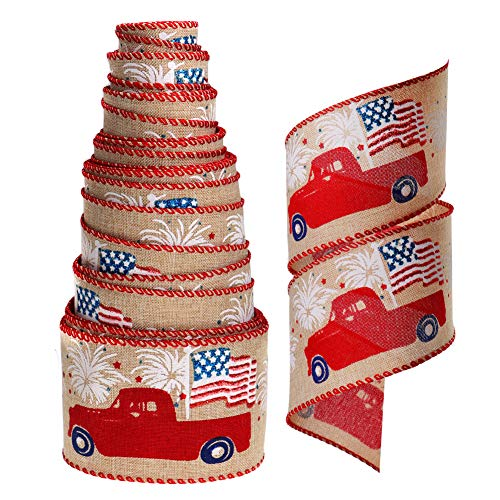 Burlap Ribbon Star Wired Edge Ribbon Glitter Americana Patriotic Farm Truck Fourth of July Independence Decoration for Wreath Garland Tree 10 Yards 2.5' (Buff)