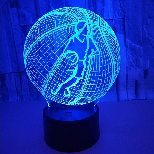 Lámpara de escritorio VIWIV 20 * 13 cm Baloncesto 3D Estéreo USB Lámpara de mesa LED Luz de noche Colorido Gradiente táctil Control remoto Mesita de noche Decoración de ensue?o Cumplea?os Regalo de cu