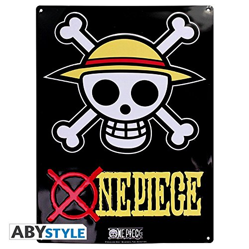 One piece Plaque en tôle 3D Luffy Ruffy Skull 38 x 28 cm
