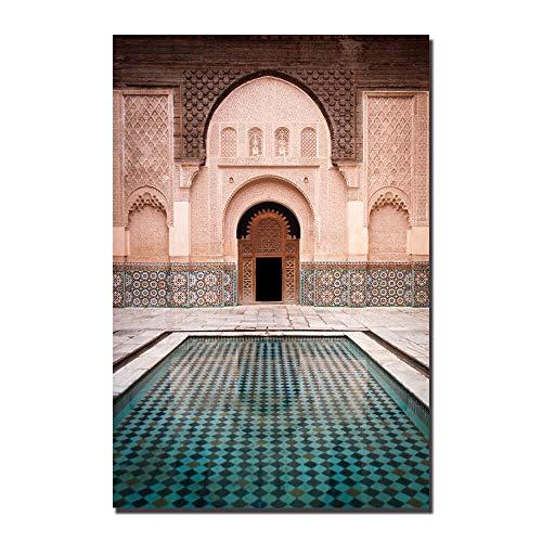 LWJZQT Moderne Kunst Muur Oude Poort Marokko Canvas Schilderij Posters Kunstwerk Foto's Gedrukt Voor Woonkamer Badkamer Woonkamer Woonkamer Decoratie