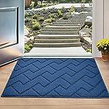 """Indoor Doormat,Front Back Door Mat Rubber Backing Non Slip Door Mats 20""""x31.5"""" Absorbent Resist Dirt Entrance Doormat Inside Floor Mats for Entryway Machine Washable Low-Profile (Navy Blue)"""