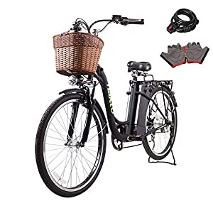 Nakto 26″ 250W Cargo-Electric Bicycle 6 speed e-Bike 36V Lithium Battery Aadult/Young Adult-Women (Black)