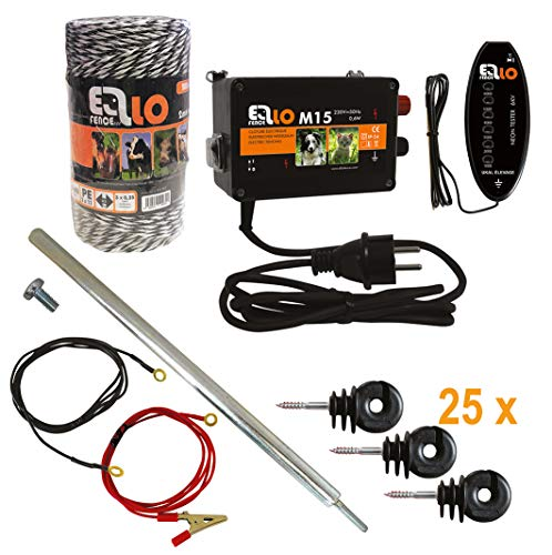 Ellofence - Set per recinzioni, con filo di recinzione per pascoli, paletti, isolatori e tester, dispositivo estremamente silenzioso, 230 V