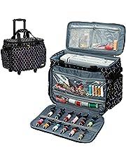 NICOGENA حقيبة آلة الخياطة الدوارة على العجلات، حقيبة سفر عالمية مع حزام الكتف للمغنية والأخ وجانوم والملحقات الفانوس الأسود