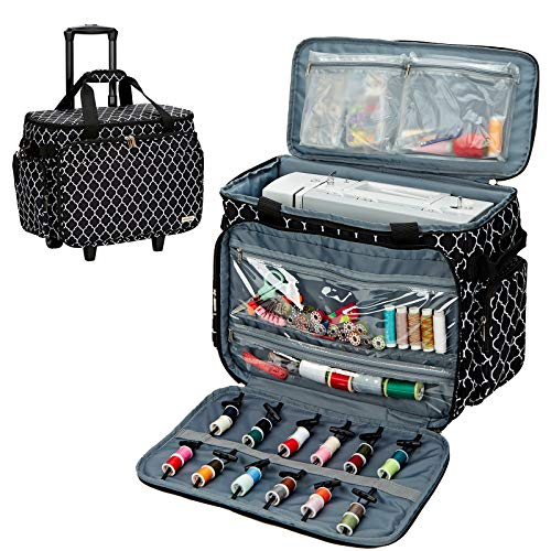 NICOGENA Rolling Sewing Machine Case on Wheels, Universal Travel Tote Bag with Shoulder Strap for Singer, Brother, Janome and Accessories, Lantern Black