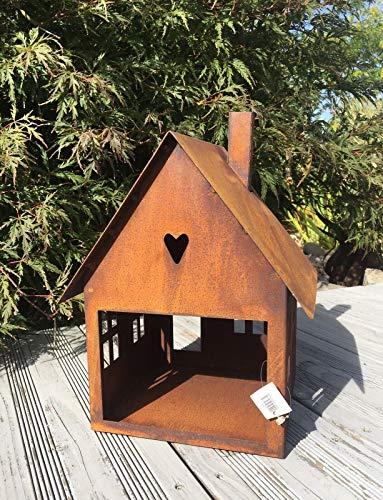 villa-lilla Edelrost Vogelhaus/Futterhaus/Laterne XXL Höhe 28 cm, Breite 20 cm, Tiefe 19 cm