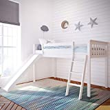 Max & Lily Solid Wood Twin-Size Low Loft Bed with Slide, White