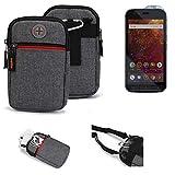 K-S-Trade® Gürtel-Tasche Für Caterpillar Cat S61 Handy-Tasche Holster Schutz-hülle Grau Zusatzfächer 1x