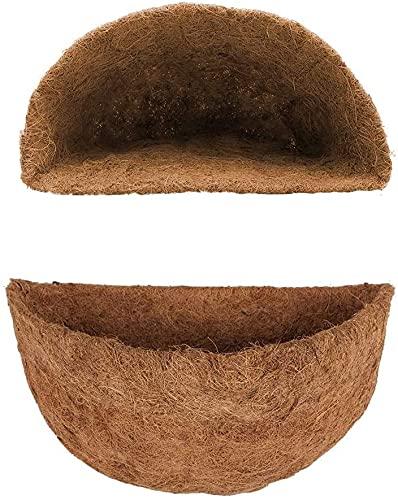 Juego de 2 maceteros colgantes para colgar, alfombra de coco, redondo, forro de coco, para maceta, maceta, colgante (30 cm)