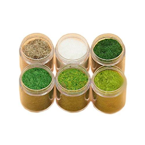 Yalulu 6 Pack Mixed Model Grass Cashmere Powder Green Fake Grass Fairy Garden...