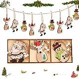 9PCS DIY Originales Colgantes, Colgantes de Madera para Árbol para Navidad,Colgante Navideño de Madera, Decoración del árbol Navideño, Decoraciones navideñas, Adornos de Navidad Madera (E)