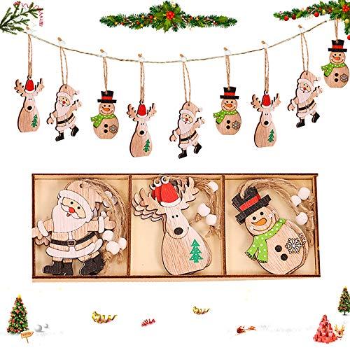Sunshine smile 9 Stück Kleine Anhänger Holz Weihnachten mit 3Pcs 3 Fächer Aufbewahrungs,Setzbord Anhänger Dekoration Holz,Weihnachtsbaum Deko Holz,weihnachtsdeko basteln,Holz Weihnachtsdeko Anhänger