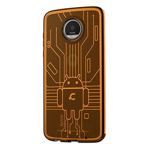Cruzerlite Moto Z2 Play die Hülle, Bugdroid Circuit TPU die Hülle for Motorola Moto Z2 Play - Retail Packaging - Orange