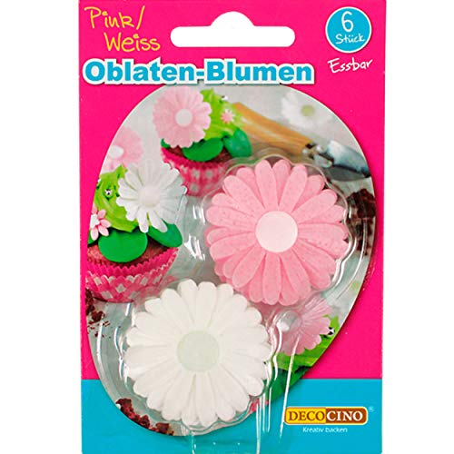 DECOCINO Oblaten-Blumen in Pink & Weiß, mit 3D-Effekt (3 x 6 Stk.) – essbare Blumen für Hochzeits- & Geburtstags-Deko auf Torten, Kuchen, Cup-Cakes uvm!