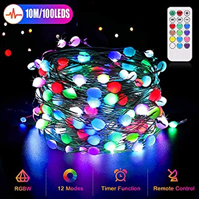 33ft 100 LED USB Fairy String Lights, 12 Color Changing Dimmable Light Twinkle Firefly Lights with Remote, Waterproof Copper Wire Lights Festival Decoration for Bedroom Party Wedding Christmas