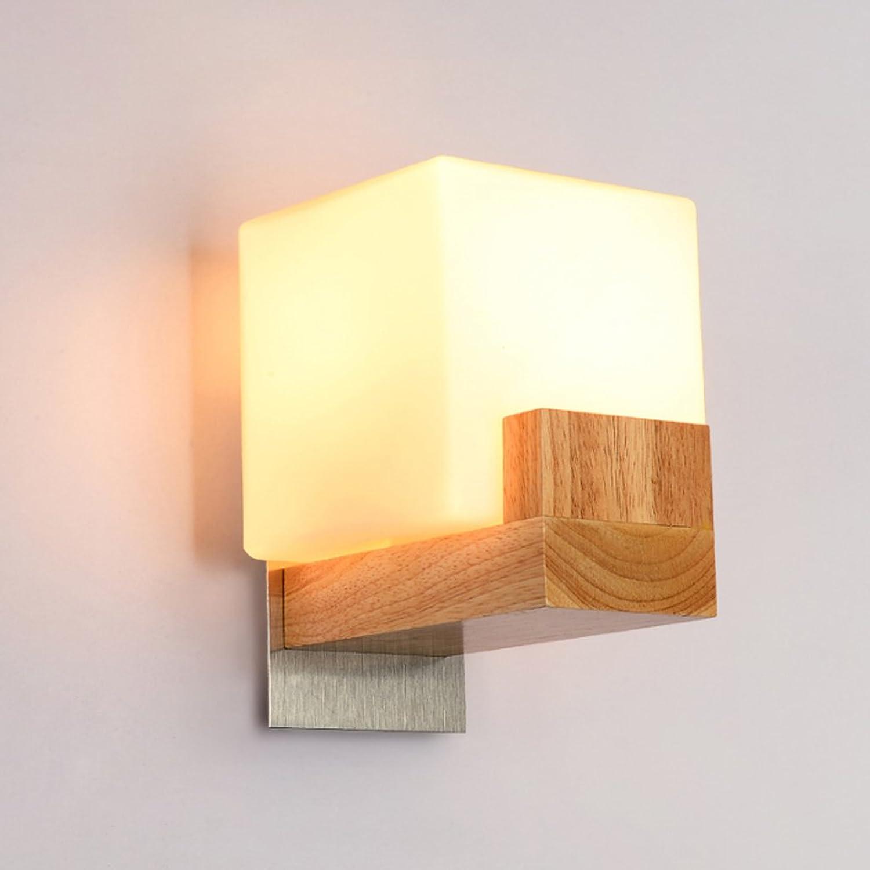 TangMengYun Nordic Gummi Holz Wandleuchte, kreative Wandleuchte für Schlafzimmer Nachttischlampe Wohnzimmer Gang, Glas Wandleuchte einfache Nachtlicht (Farbe   C-18  15CM)