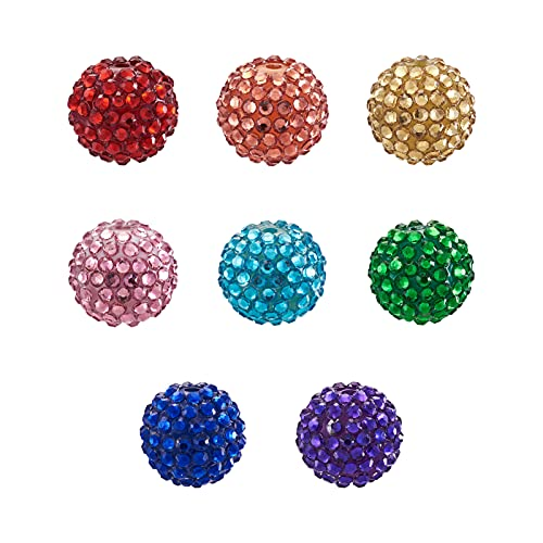 Beadthoven 100pcs 20mm Mixed Color Round Disco Ball Beads Crystal Resin Rhinestone Pave Acrylic Chunky Beads Loose Spacer Charms for DIY Jewelry Making