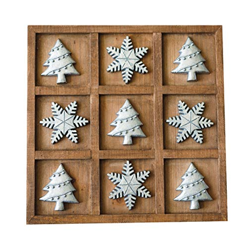 NIKKY HOME Christmas Tree and Snowflake Wood Board Travel Game Tic Tac Toe for Holiday Fun