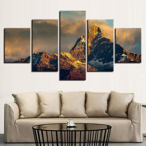 ASWLH Imprimir Pintura Decorativa Poster Frame Art Painting Home Decor Living Room 5 Panel Nine Planetas En El Sistema Solar Modular HD Print Canvas Wall Pictures
