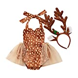 Toddler Baby Girls My First Christmas Clothes Halter Rompers Tulle Tutu Dress Deer Lace Jumpsuit +Antlers Headband Outfits Set (Brown, 9-12M)
