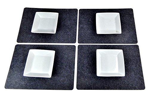 Lot de 4 sets de table en feutre 43 x 30 cm - 43 x 30 cm - Pour table en bois, table en verre et table de jardin - Pratique et facile à entretenir