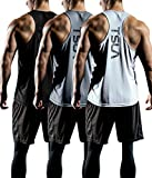 TSLA Men's Dry Fit Y-Back Muscle Workout Tank Tops, Athletic Training Gym Tank Top, Sleeveless Bodybuilding Shirts, 3pack(mtn33) - Black/Grey/White, X-Large