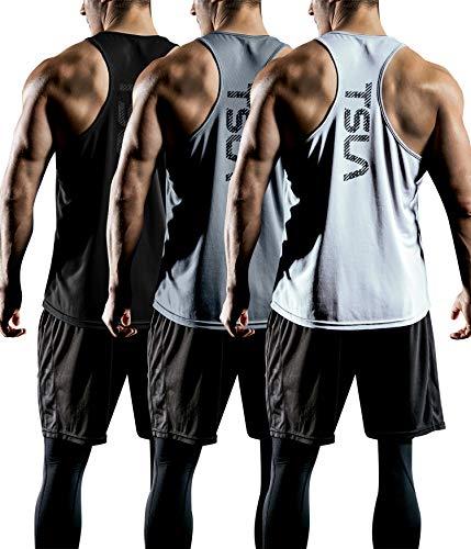 TSLA Men's Dry Fit Y-Back Muscle Wo…