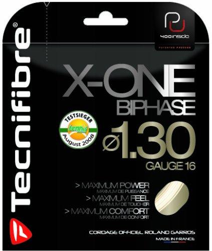 Tecnifibre X-One Biphase - Cuerda para Raquetas de Tenis (12 m) Transparente Natur-Spiral Talla:1,3