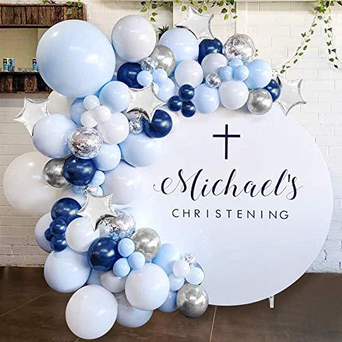 97pcs Kit de guirnaldas con globos APERIL Kit de arcos de globos azules y blancos plata,Globos de látex llenos de confeti Arco para Decoraciones de Bautizo Comunion Baby Shower de Fiesta de Cumpleaños