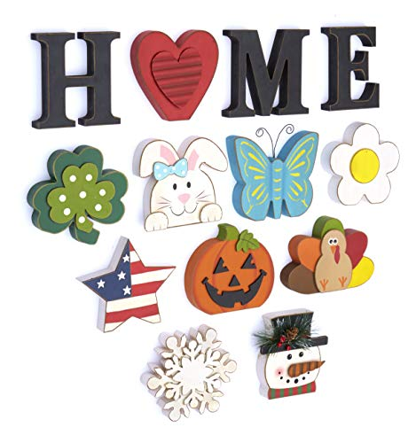 The Lakeside Collection Wooden Decorative Home Signs with Letters, Pumpkin, Turkey, Snowflake - 13...