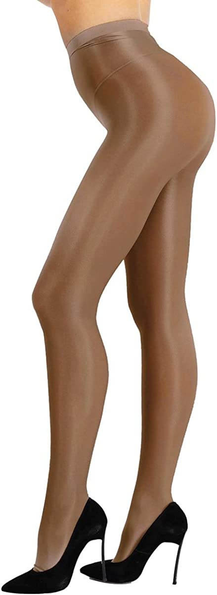 winying Womens Silk Ultra Shimmery Oil Bright Hosiery Tights 70D Thickness Footed Stockings Pantyhose
