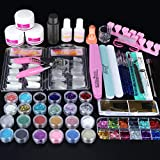 Acrylic Nail Kit,SPTHTHHPY 52 in 1 Nail Kit Set Nail Glue Acrylic Powder Liquid Glitter Powder Brush with Everything Clipper File French Tips Professional Acrylic Nail Set