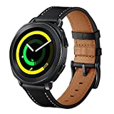 Sundaree Compatible con Galaxy Watch 42mm/Active2/Gear Sport Correa,20MM Genuina Reemplazo Correa Banda Pulsera Repuesto de Reloj para Samsung Galaxy Watch Active2 40mm 44mm/Galaxy Watch 42(S Black)