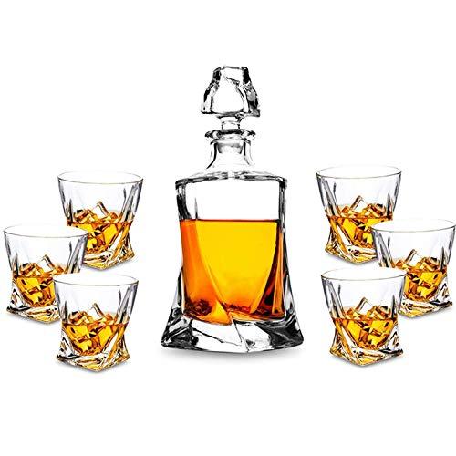 ZJZ Decantador de Whisky de 800 ml y Juego de Vasos de 320 ml, diseño único, una Botella de distorsión, Juego de decantador de Vasos de Whisky