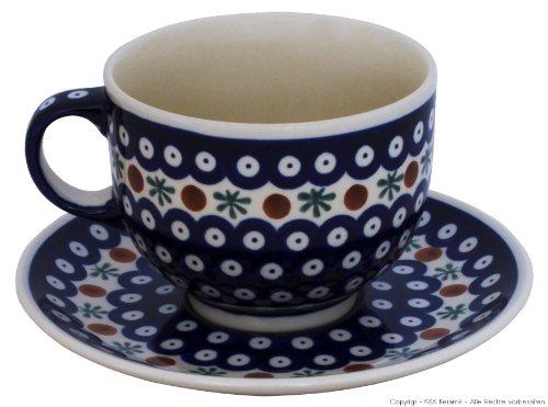 Bunzlauer Keramik Tasse mit Untertasse (Milchkaffeetasse) 0.5 Liter Dekor 41