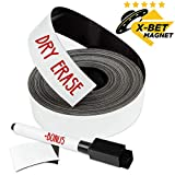 Dry Erase Magnetic Strips - 1 Inch x 25 Feet Magnetic Tape Roll - Blank Write On Magnets - Sticky Labels and Stickers - Writable Flexible Magnet Sheet for Whiteboards, Refrigerator and Crafts