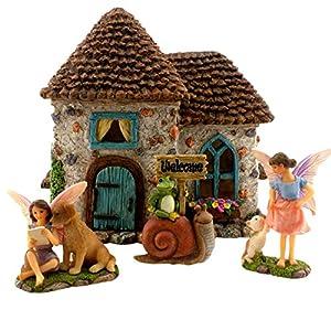 pretmanns fairy garden house kit fairy house with fairy garden fairies accessories the fairy house is 6 high fairy garden supplies 4 piece kit for kids or adults