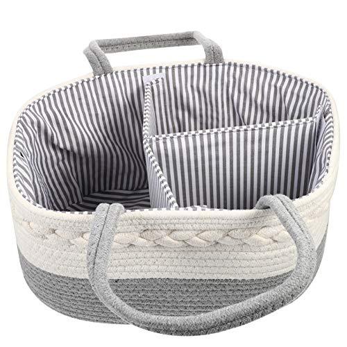 Toddmomy Carrito de Pañales con Cuerda de Algodón para Bebé Cesta Portátil para Niños Cesta para Almacenamiento de Niños Bolsa para Pañales Bolsa Impermeable para Cochecito Artículos de
