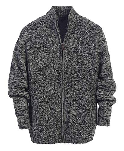 Gioberti Mens Cardigan Twisted Knit Regular Fit Full-Zipper Sweater, Gray, Medium