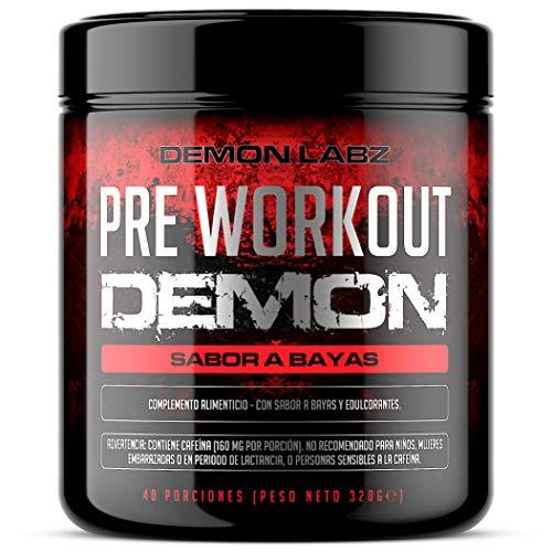 Pre Workout Demon (Sabor Frutas del Bosque) - Suplemento Potente pre-Entreno con Creatina, Cafeína, Beta-Alanina y Glutamina (Envase de 320 Gramos - 40 Porciones)